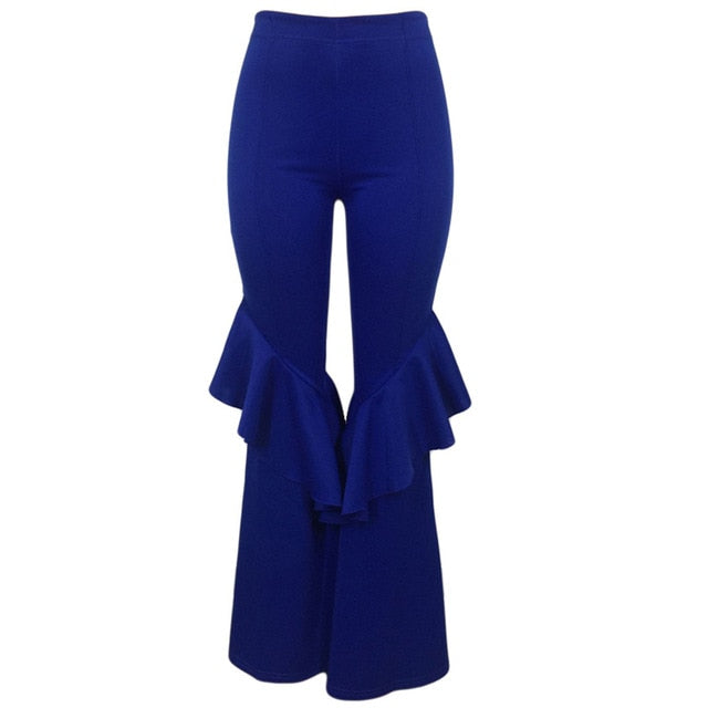 Women Flare Pants Wide Leg Elegant Office Lady Boot Cut Trousers Female High Waist Elastic Slacks Bell Bottom Palazzo Party Club
