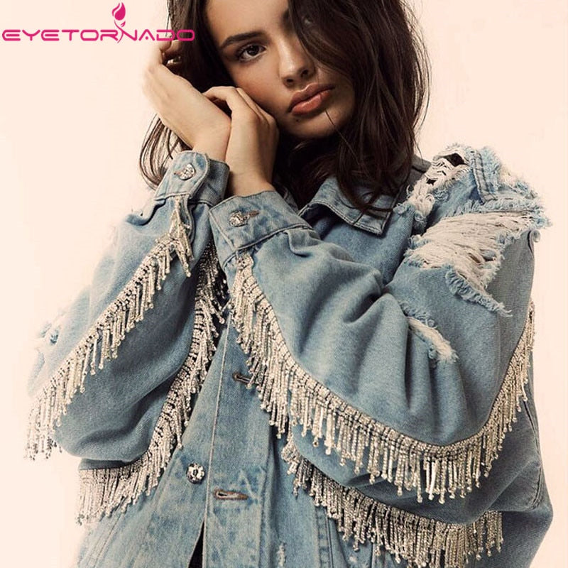 Women Gems Beadings Tassel Short Basic Denim Jacket  2019 Autumn Winter Long Sleeve Ripped Hole Oversize Jeans Coats Top Outwear