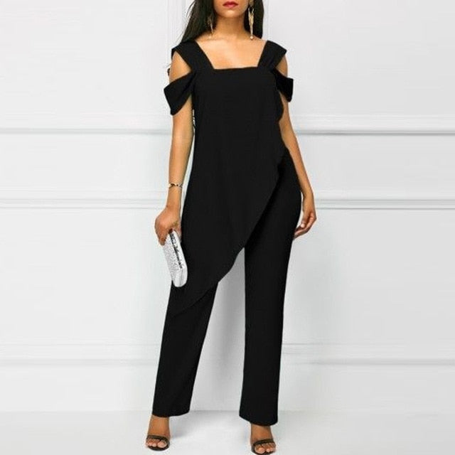 Women Jumpsuit Casual Chiffon Irregular High Waist Rompers Office Lady Solid Pencil Pants Sleeveless Female Jumpsuits Plus Size