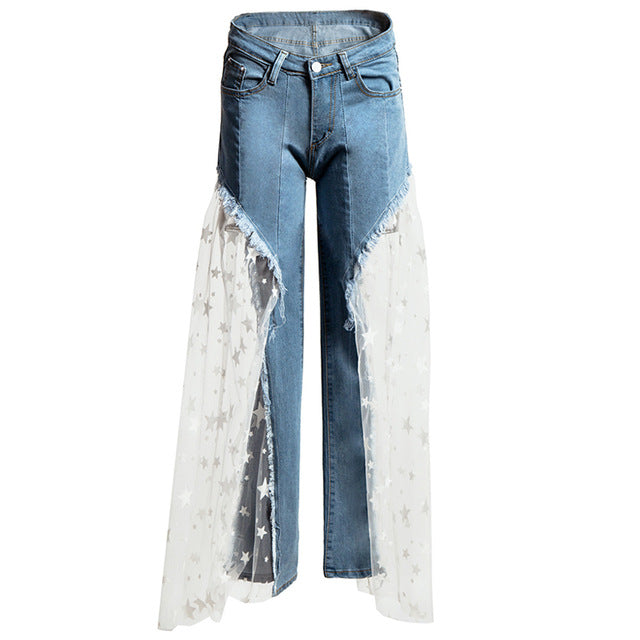Women Mesh Stitching Jeans Flare Pants Wide Leg Denim Trousers Patchwork Transparent Hollow Out Burr Bell Bottom Streetwear CHic