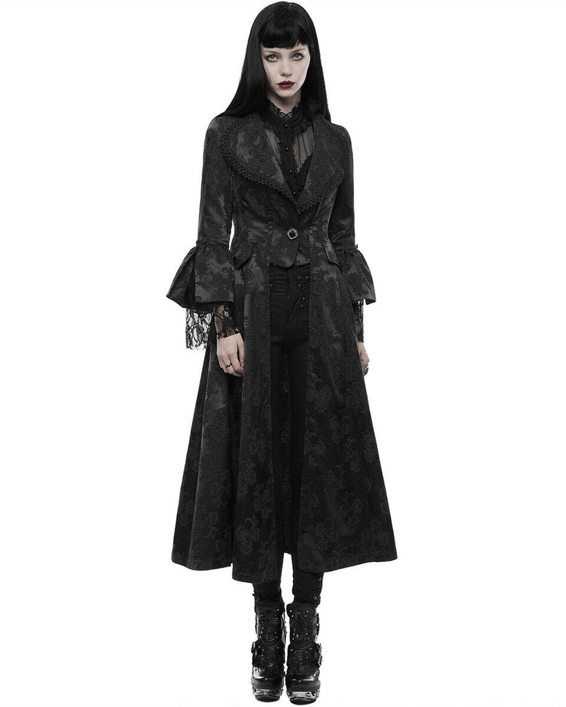 Women Punk Carnival Women's Long Gothic Jacket Dress Black Steampunk Vintage Retro Coat Lace Patchwork Female Gown Coat