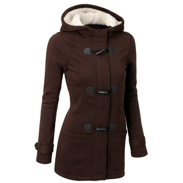 Women Spring And Autumn Hooded Plus Size 7 Colors And S-6XL Hooded Mixed Cotton Classic Horn Leather Buckle Jacket Warm Coat