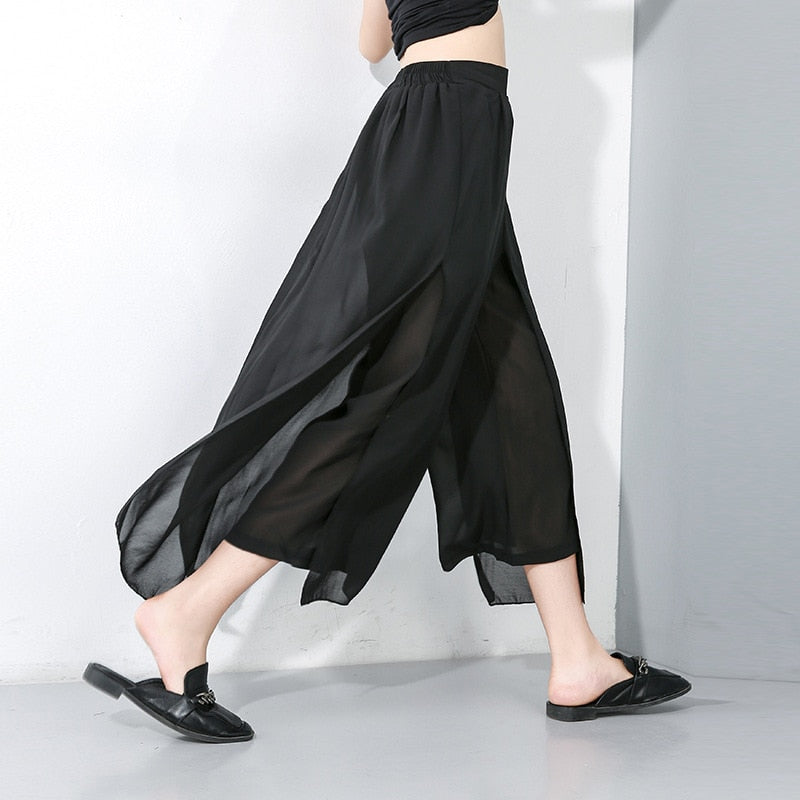 Women Wide Leg Pants Chiffon Mesh Elegant Office Lady Trousers Culottes Loose Moderns Slacks Streetwear Summer Boot Cut Palazzo