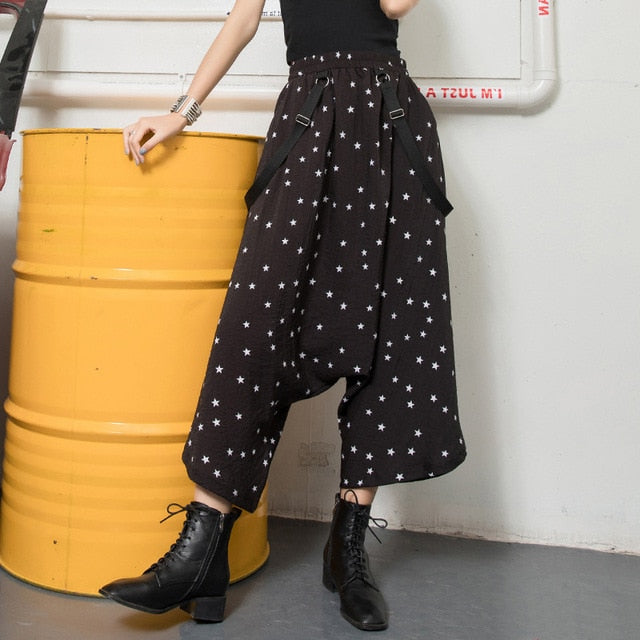 Women Wide Leg Pants Ribbon Elegant Star Print Trendy Trousers High Waist Korean Harajuku Slacks Polka Dot Overalls Palazzo Chic
