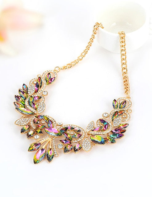 ZHINI Statement Necklaces & Pendants Crystal Maxi Necklace Women Ladies Chain Collar Collier Female Fashion Jewelry love gifts