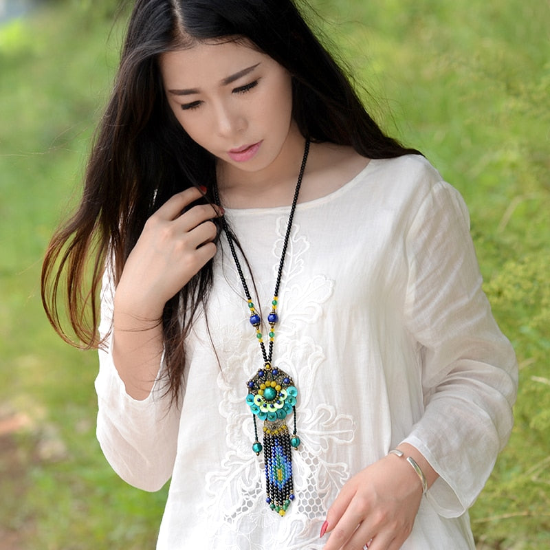 fashion 2018 boho jewelry shell bronze flower pendants bohemian ethnic long glazed stone rope chain maxi necklace for women