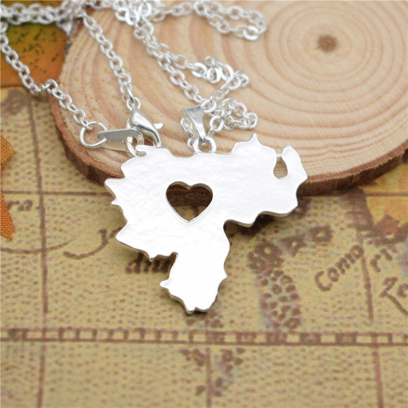 fashion Venezuela map pendant necklace women charm collar map Jewelry accessory chain choker necklace gift silver gold color