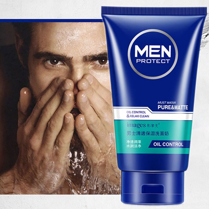 images Man Refreshing oil control Face Cleaner Pore Cleaner Face Wash Men Facial Cleanser Acne Blackhead Moisturizing Face care