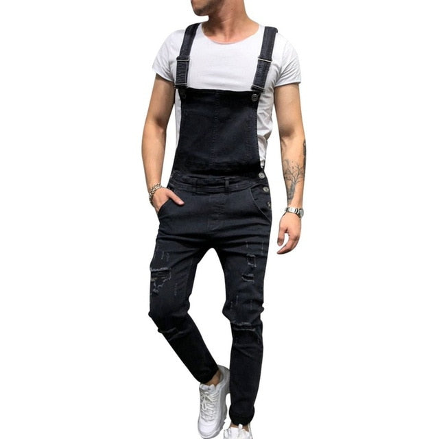 HEFLASHOR Men hole Distressed Denim jeans hip hop ripped jumpsuits man high quality Suspender cowboy Pants streetwear black