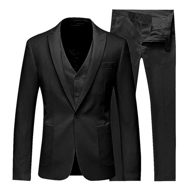 MJARTORIA 2019 3Pc (jacket + Vest + Trouser) Male Business Dress Cultivate Spring Suit Solid Casual Office Suit Wedding Suits