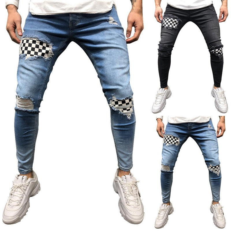 SHUJIN Men Hip Hop Ripped Jeans Skinny Biker Embroidery Jeans Destroyed Hole Denim Trousers 2019 Men High Quality Jeans Pants