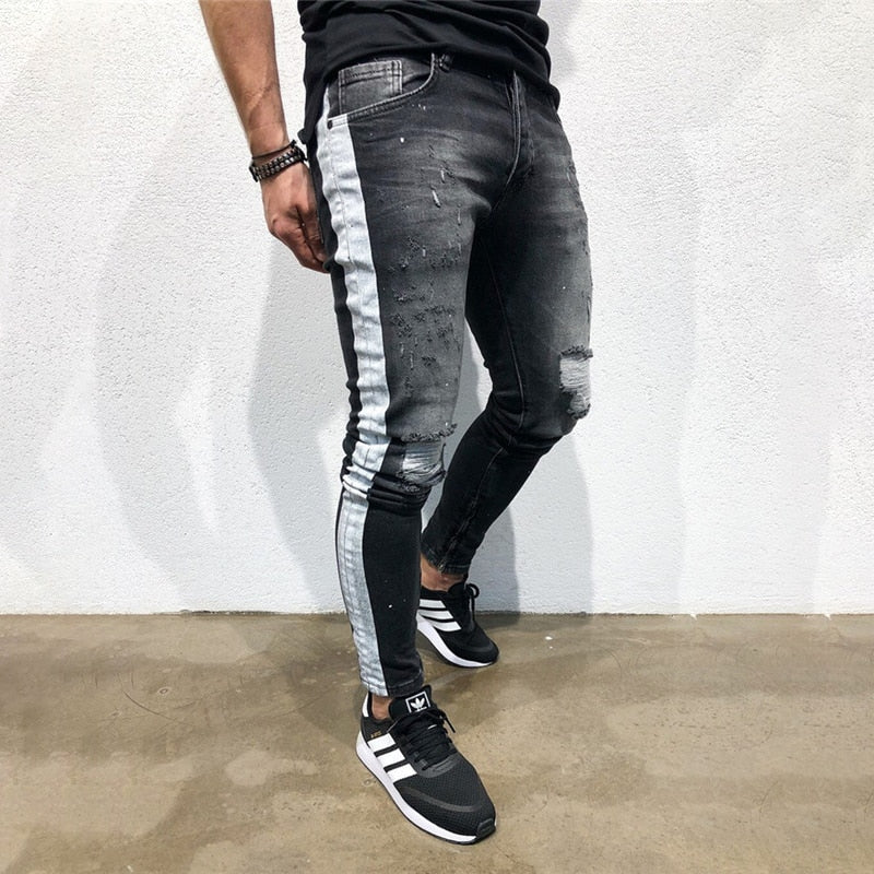 Men's Fashion Stretchy Ripped Skinny Jeans Destroyed Denim Pants 2019 Mens Casual Elastic Waist Pencil Pants