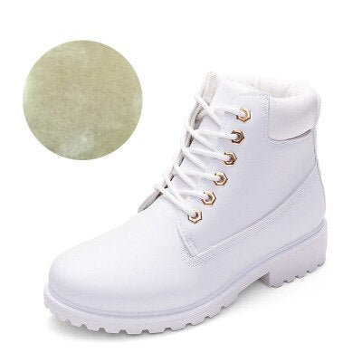 Shoes Woman Boots Waterproof Winter Autumn Fur Lined Anti-slip Zapatos De Mujer Lady Booties ankle Boot Lace Up Plus Size 36-41