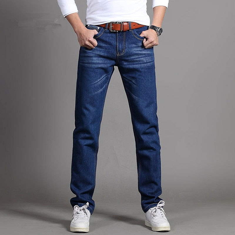 New Men's Fashion Jeans Business Casual Stretch Slim Jeans Classic Trousers Denim Pants Male