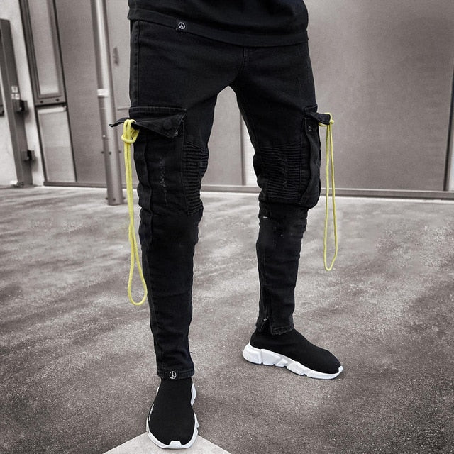 2019 New Men Jeans  Slim Racer Biker Jeans Fashion Hiphop Skinny Jeans For Men Denim skinny jeans men