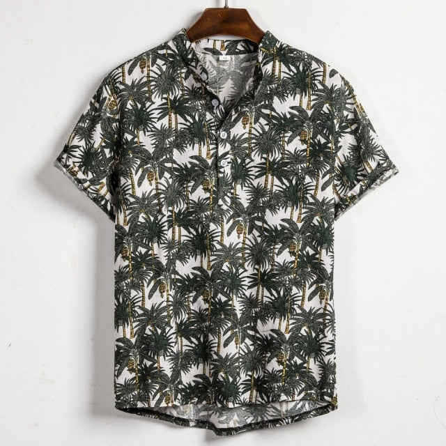 Men Linen Short Sleeve Shirt Summer Floral Loose Baggy Casual Holiday Shirts Tee Tops