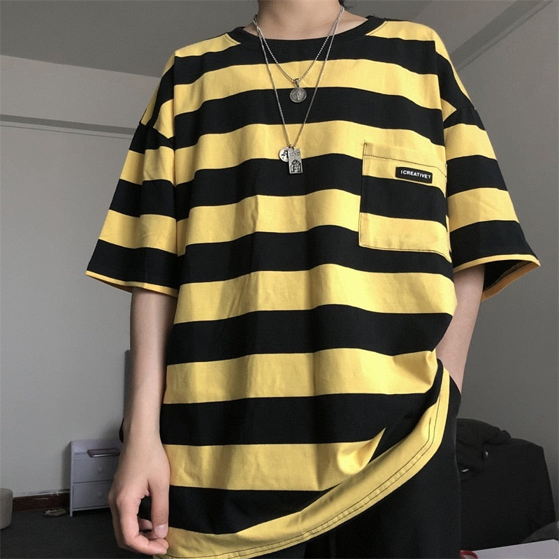Pockets Striped Letter Print Oversized Summer T shirt Short Sleeve O neck plus size tee Korean style minimalist student clothes