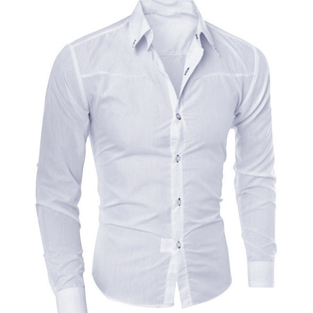 Puimentiua Spring Long Sleeve Formal Shirts For Men Solid Slim Basic Turn-down Collar Business Dress Shirts Camisas Masculina