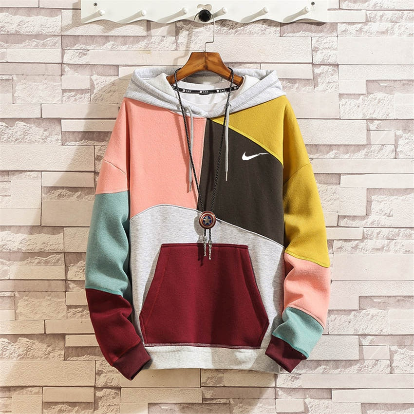 Mens Loose Hooded Hoodies Patchwork Fashion Creative Color Block Stitching Sweatshirts Just It Oversize 5XL Pullover Tracksuits