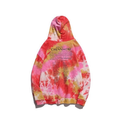 2019 Autumn Harajuku Casual Loose Hoodies Sweat Men Hip hop Graffiti Tie dyeing Printed pullover Sweatshirts