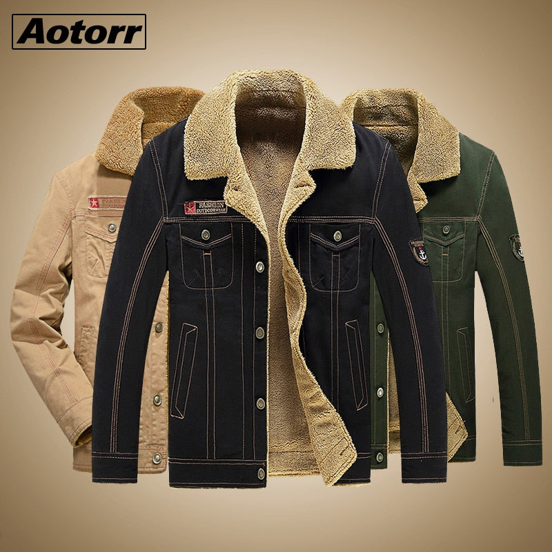 Winter Tactical Lamb Jacket Men Air Force Pilot Jacket Warm Male Fur Collar Army Jacket Mens Teddy Thick Thermal Fleece Coat