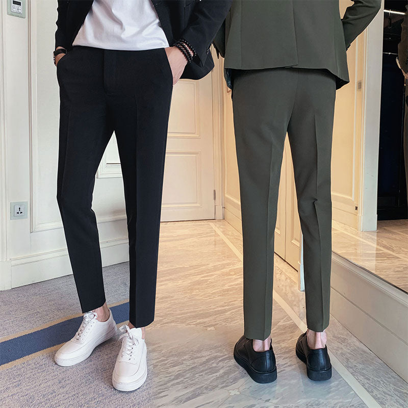 High Quality Suit Pants Male Straight Slim Fit Formal Trousers Men's Wedding Bridegro Autumn Fashion Business Casual Long Pants