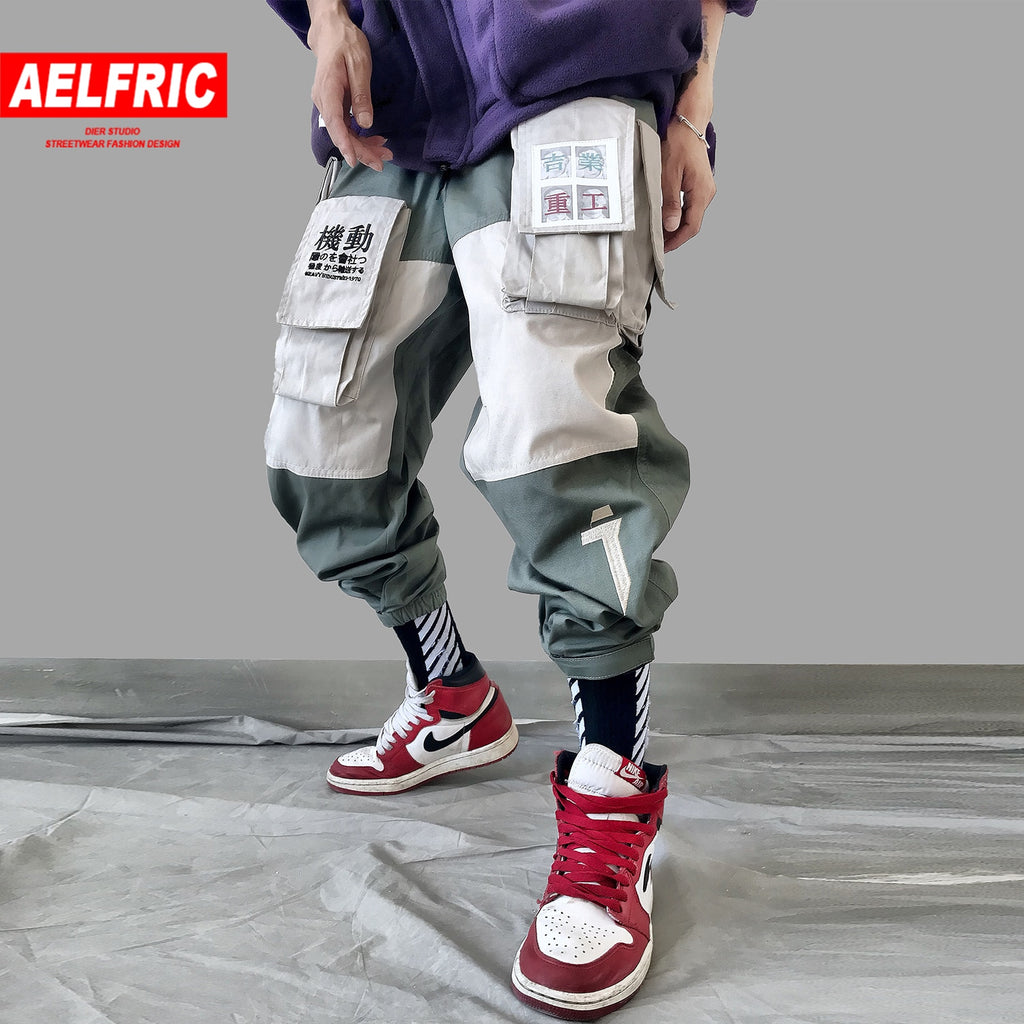 AELFRIC Patchwork Pockets Cargo Pants Mens 2019 Harajuku Hip Hop Sweatpant Fashion Casual Male Joggers Track Trousers Streetwear