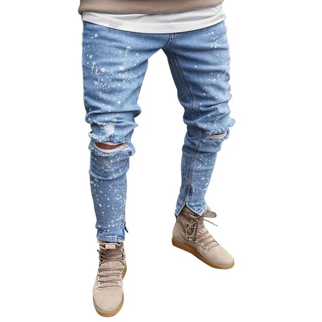 Litthing New Mens Skinny Jeans Black Distressed Denim Stretch Jeans Male Hombre Slim  Fashion Elastic Waist Hole Bottoms