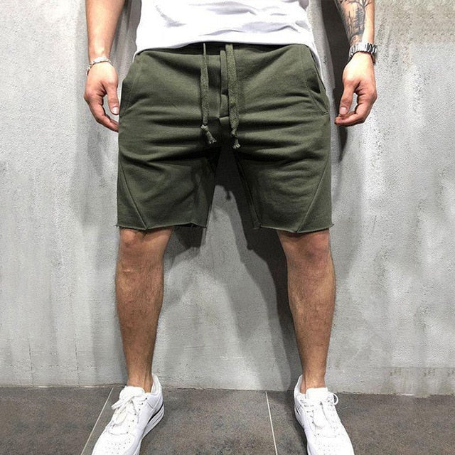 2019 New Style Fashion Hot Men's Casual Short Solid Cotton Fitness String With Pocket Loose Wear Shorts