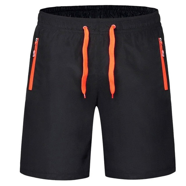 SFIT 2019 Summer Men Shorts Zipper Pockets Loose Men's Casual Shorts Black Solid Drawstring Waist Bermuda Shorts Male Plus Size