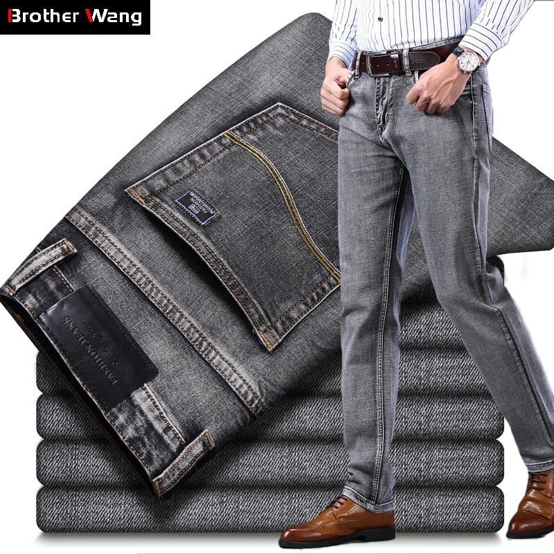 Men's Stretch Regular Fit Jeans Business Casual Classic Style Fashion Denim Trousers