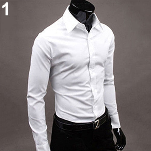 2017 New Men's Fashion Casual Solid Candy Color Long Sleeve Slim Fit Dress Shirt Top
