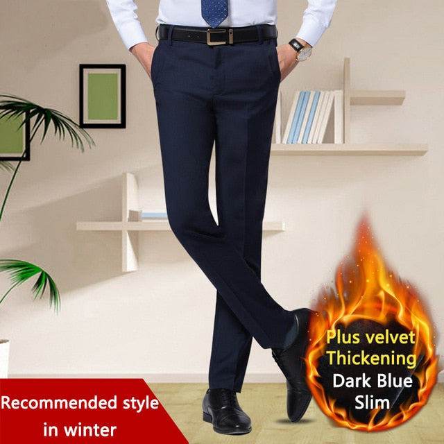 2018 Men's Black Suit Pants Flat-Front Straight Slim-fit Business Straight Male Trousers Thin Office Wear Solid Dress Pants