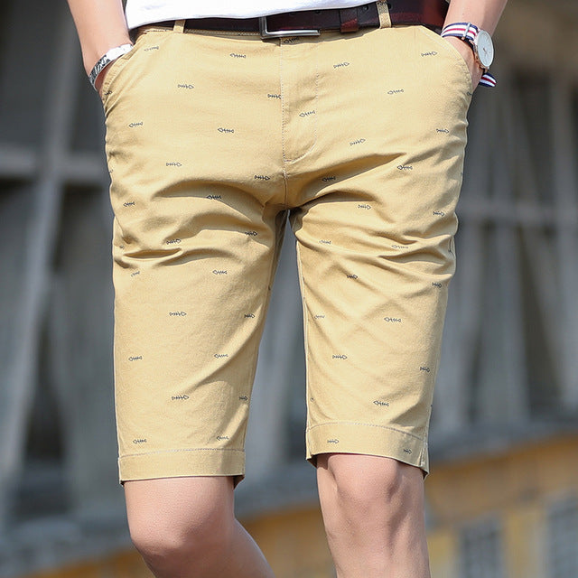 Summer Men Shorts Quality Cotton Short Pants Fishbone Printing Cosual Formal Shorts Bermuda Masculina Plus Size 28-40 Bermuda