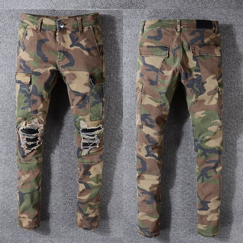New Italy Style #536# Men's Cargo Pockets Pants Camouflage Distressed Ribbed Patches Army Skinny Jeans Slim Trousers Size 29-40