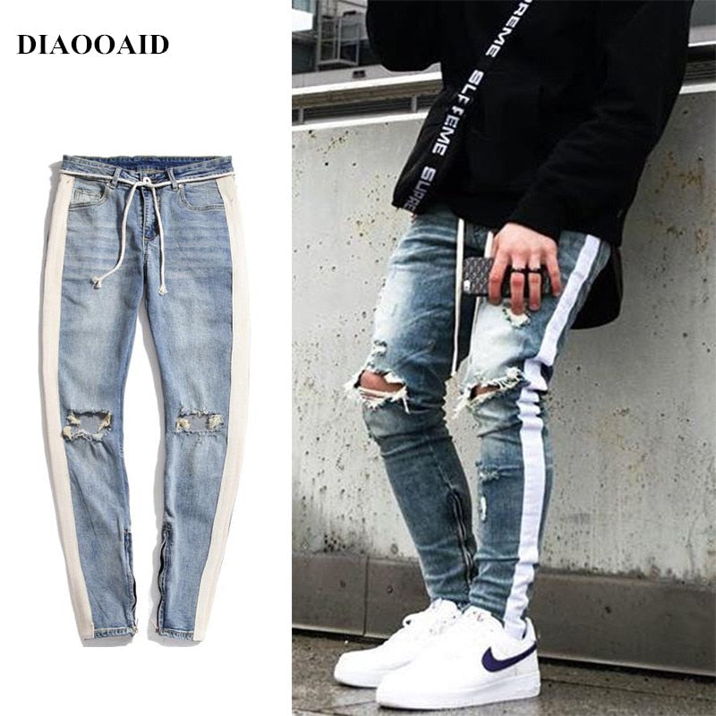 DIAOOAID 2018 new streetwear hiphop personality men jeans side zipper ripped fashion male destroyed skinny 2 colors denim pants