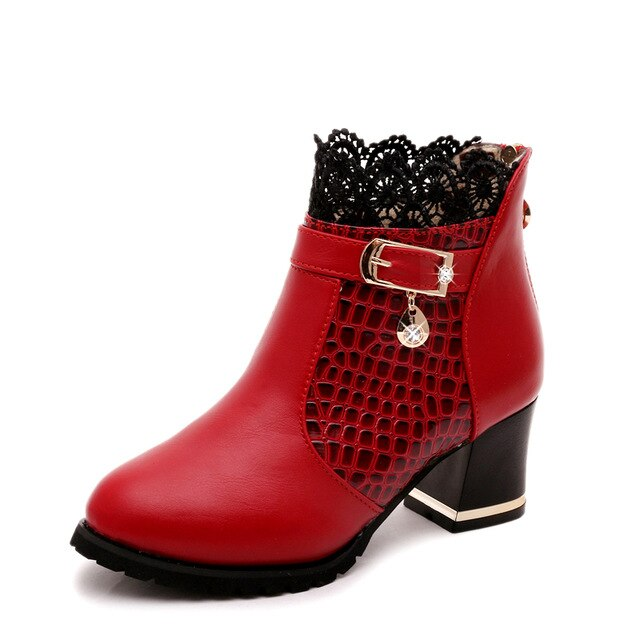 Lucyever Women's Spring Autumn Ankle Boots Fashion Crystal Square High Heels Round Toe Platform Leather Shoes Woman Black Red
