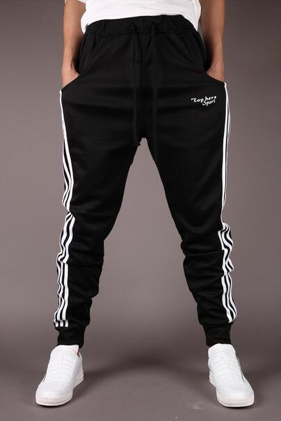 2018 New Fashion Tracksuit Bottoms Mens Casual Pants Cotton Sweatpants Mens Joggers Striped Track Pants Gyms Clothing