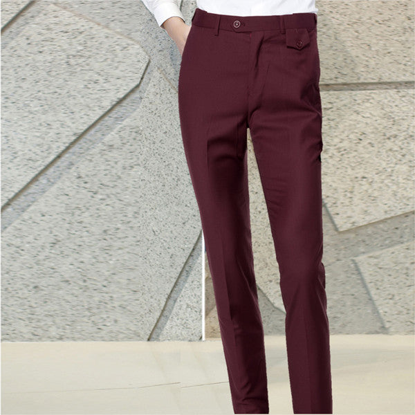 Left ROM 2019 New Groom Fashion Boutique Pure Color Wedding Dress Suit Pants / Men's High-end Business Suit Pants Male Trousers