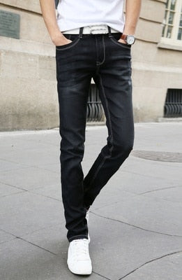 2019 Spring Summer New Fashion Men Casual Stretch Skinny Jeans Slim fit Trousers Tight White Pants Solid Colors