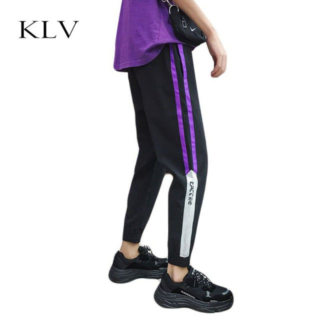 Men Elastic Drawstring Waistband Long Track Pants Contrast Color Double Stripes Trousers Hip-Hop Street Fitness Loose Sweatpants