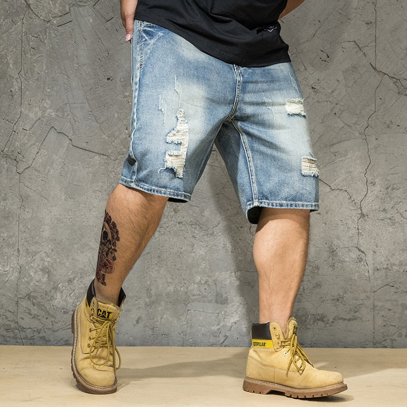 Ripped Denim Shorts Male Plus Size 4XL 5XL 6XL Hole Jeans Destressed Shorts Men Large Big Size Bermuda Straight Fit Breeches Men