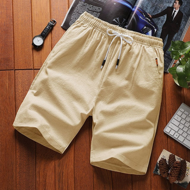 2019 fashion men's cotton and linen casual shorts cotton and linen beach casual sports shorts
