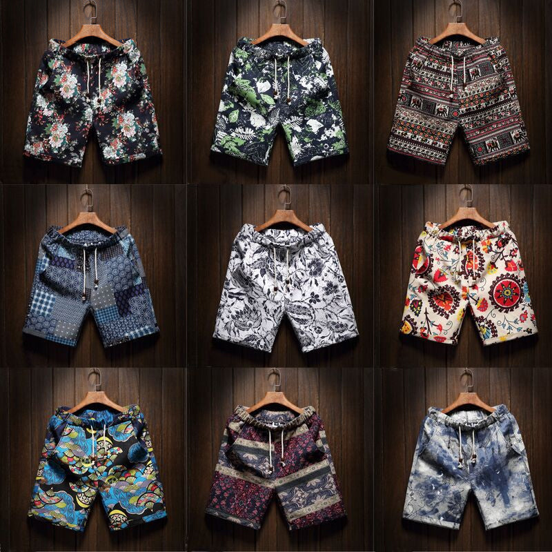 9 Color Men's Casual Beach Floral Shorts 2019 New Summer Fashion Straight Cotton Linen Bermuda Hawaiian Short Pants Male Brand