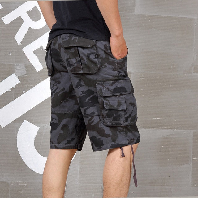 Summer plus size casual camouflage large shorts men loose Elastic Waist Knee Length hiphop short trousers