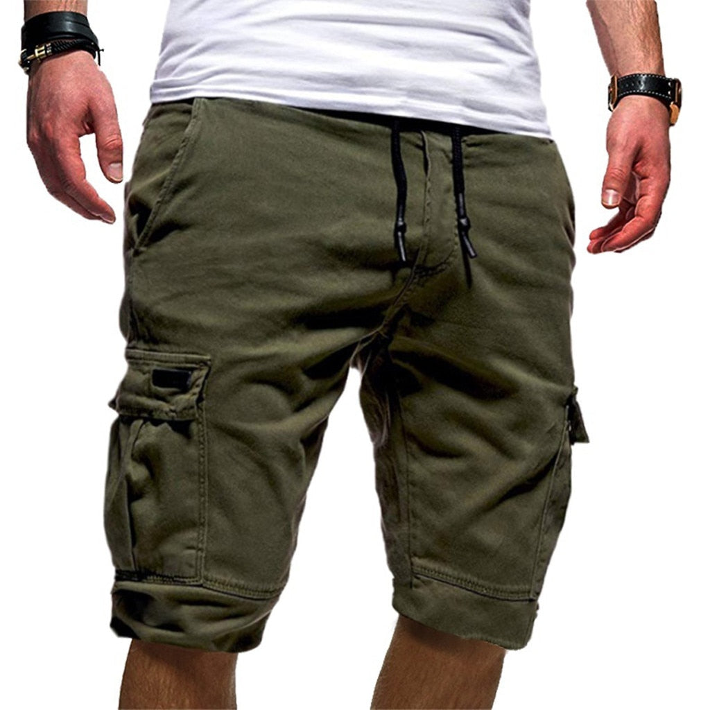 Men's Sport Pure Color Bandage Casual Loose Shorts Pant 2019 New Mens Casual Shorts Loose Shorts Man Short Pants Plus Size #502