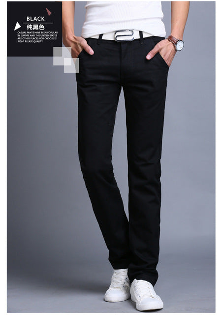 2019 Spring Summer New Casual Pants Men Cotton Slim Fit Chinos Fashion Trousers Male Brand Clothing Plus Size 8 colour C43