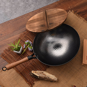 Professional Hand Hammered Chinese Cast Iron Non Stick Wok Carbon Steel Reinforced Pan