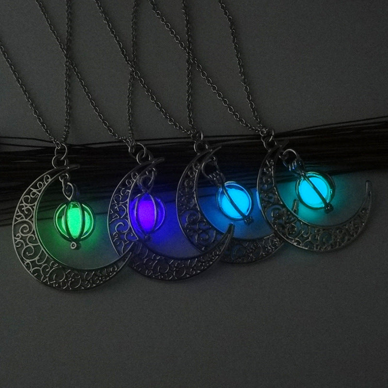 Crescent Moon Necklace Glow Stone Half Moon Necklace Pendant Jewelry Charm
