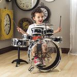 Kids Toy Musical Instrument 11 Piece Kids Drum Set W/ Stool, Drumsticks